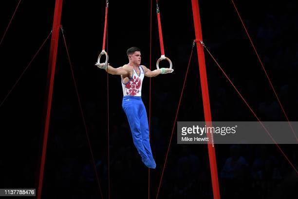 Nikita Nagornyy of Russia in action on the Rings during the 2019 Gymnastics World Cup at Resorts World Arena on March 23 2019 in Birmingham England