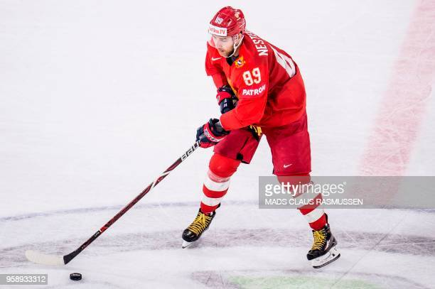Nikita Nesterov of Russia plays during the IIHF World Championship group A ice hockey match between Russia and Sweden in Royal Arena in Copenhagen on...