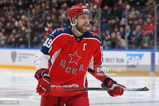 Nikita Nesterov of the CSKA skates against the SKA Saint Petersburg at the Arena CSKA Moscow on January 21, 2020 in Moscow, Russia.