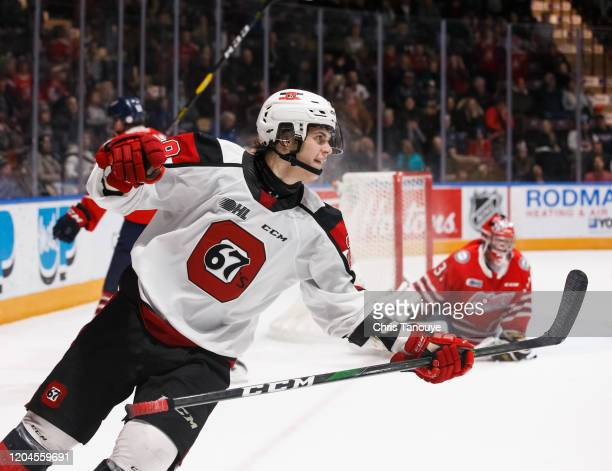 Nikita Okhotyuk of the Ottawa 67's celebrates his overtime game winning goal against the Oshawa Generals during an OHL game at the Tribute...