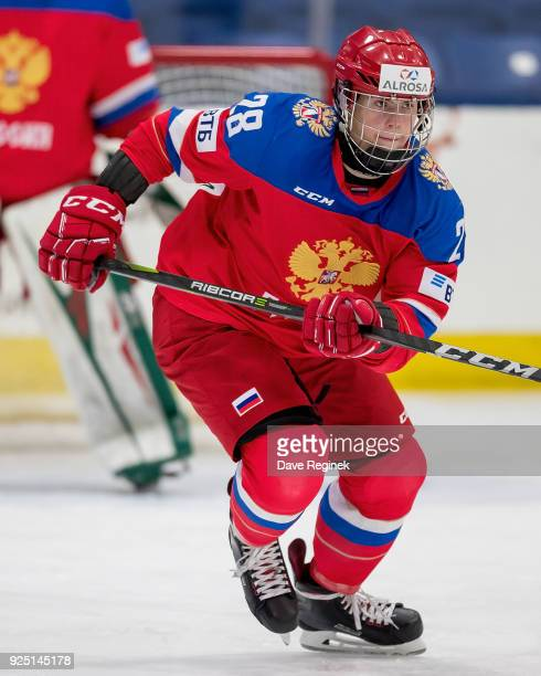 Nikita Okhotyuk of the Russian Nationals skates up ice against the Finland Nationals during the 2018 Under18 Five Nations Tournament game at USA...