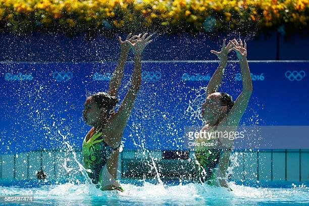 Nikita Pablo and Rose Stackpole of Australia compete in the Women's Duets Synchronised Swimming Free Routine Preliminary Round on Day 9 of the Rio...