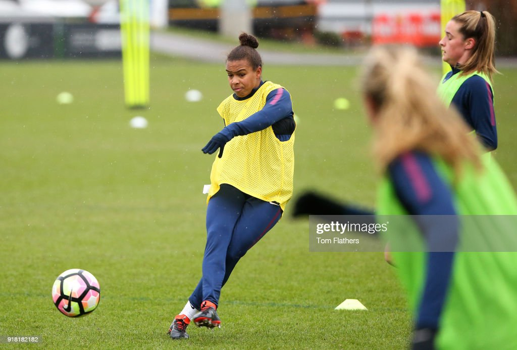 Nikita Parris and teammates during training at Manchester City Football Academy on February 14, 2018 in Manchester, England.