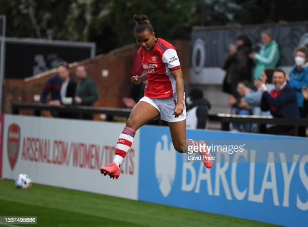 Nikita Parris celebrates scoring Arsenal's 1st goal during the UEFA Women's Champions League match between Arsenal Women and Slavia Prague at Meadow...