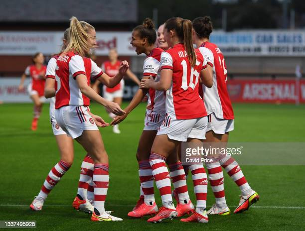 Nikita Parris celebrates scoring Arsenal's 1st goal with her team mates during the UEFA Women's Champions League match between Arsenal Women and...