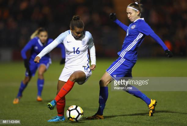 Nikita Parris of England and Ekaterina Babshuk of Kazakhstan in action during the FIFA Women's World Cup Qualifier between England and Kazakhstan at...