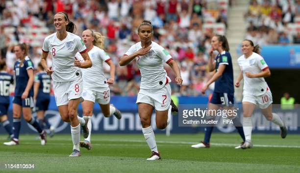 Nikita Parris of England celebrates after scoring her team's first goal during the 2019 FIFA Women's World Cup France group D match between England...