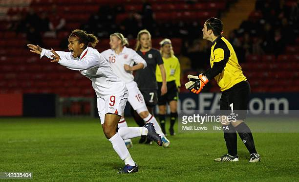 Nikita Parris of England celebrates her goal during the UEFA European Women's U19 Championship Qualifier match between England and Wales at Sincil...