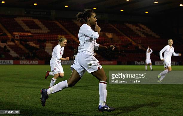Nikita Parris of England celebrates her hat-trick during the UEFA European Women's U19 Championship Qualifier match between England and Wales at...