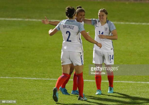 Nikita Parris of England celebrates scoring a goal during the FIFA Women's World Cup Qualifier match between England and Kazakhstan at the Weston...