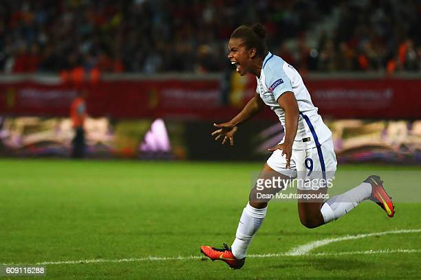 Nikita Parris of England celebrates scoring her teams first goal of the game during the UEFA Women's Euro 2017 Qualifier between Belgium and England...