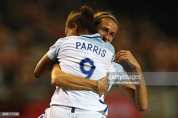 Nikita Parris of England celebrates scoring her teams first goal of the game with Jill Scott during the UEFA Women's Euro 2017 Qualifier between...