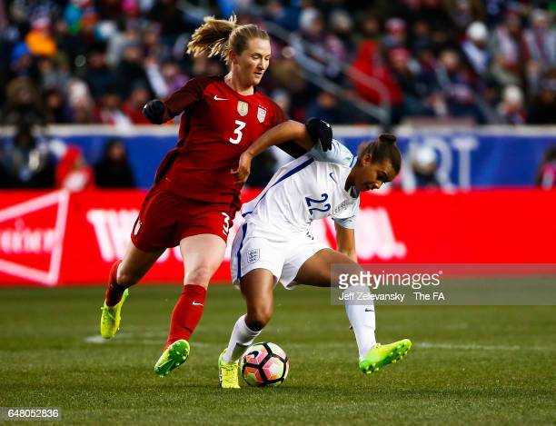 Nikita Parris of England fights for the ball with Samantha Mewis of USA during the 2017 SheBelieves Cup at Red Bull Arena on March 4, 2017 in...