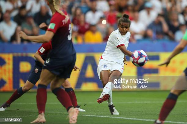 Nikita Parris of England hits a shot wide during the 2019 FIFA Women's World Cup France Quarter Final match between Norway and England at Stade...