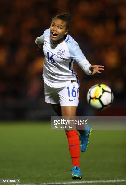 Nikita Parris of England in action during the FIFA Women's World Cup Qualifier between England and Kazakhstan at Weston Homes Community Stadium on...