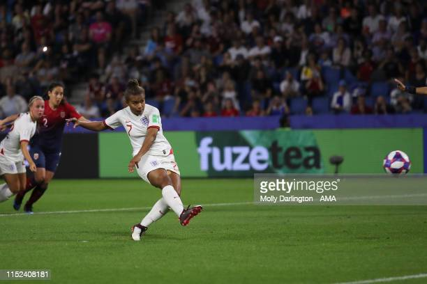 Nikita Parris of England misses a penalty during the 2019 FIFA Women's World Cup France Quarter Final match between Norway and England at Stade...