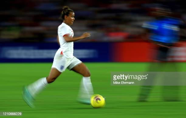 Nikita Parris of England passes during a match against the United States in the SheBelieves Cup at Exploria Stadium on March 05, 2020 in Orlando,...