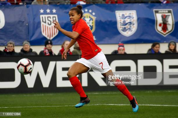 Nikita Parris of England plays in the 2019 SheBelieves Cup match between USA and England at Nissan Stadium on March 2 2019 in Nashville Tennessee