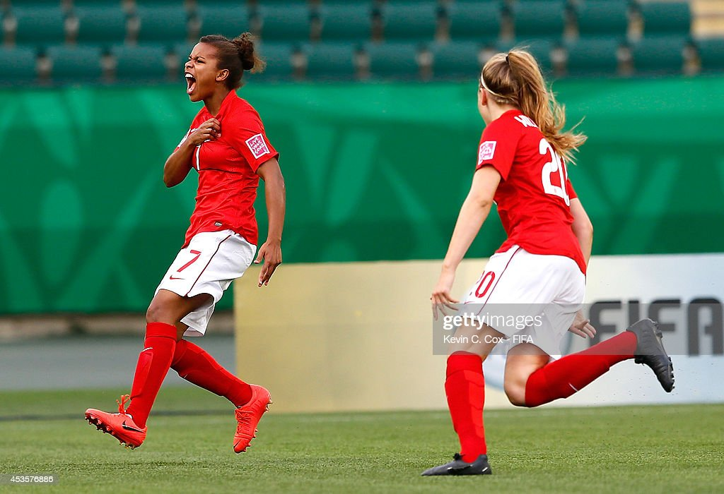 Nikita Parris of England reacts after scoring a goal against Nigeria during the FIFA U-20 Women's World Cup Canada 2014 Group C match between Nigeria and England at Commonwealth Stadium on August 13, 2014 in Edmonton, Canada.