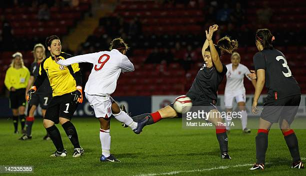 Nikita Parris of England scores a goal during the UEFA European Women's U19 Championship Qualifier match between England and Wales at Sincil Bank...