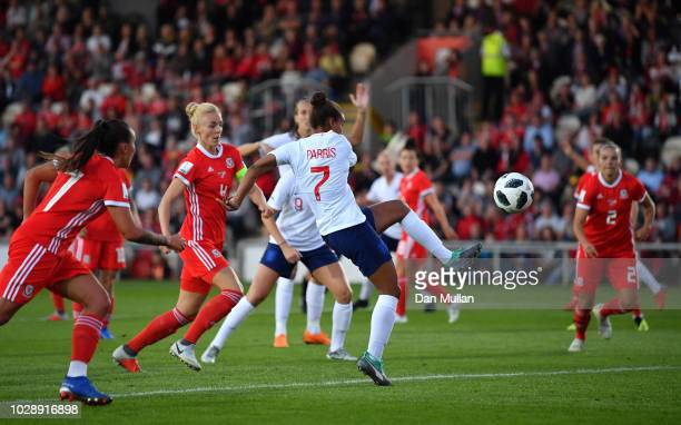 Nikita Parris of England scores but the goal is ruled out for offside during the Women's World Cup qualifier between Wales Women and England Women at...