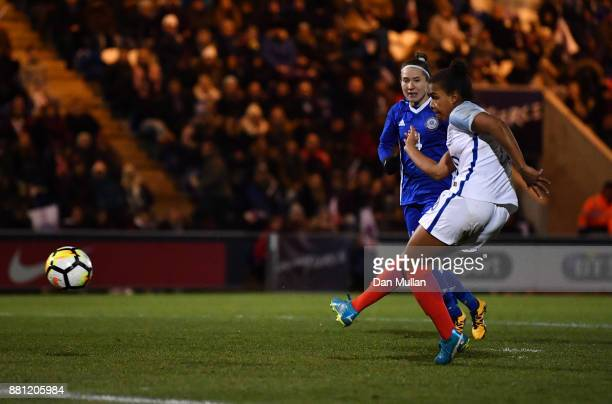 Nikita Parris of England scores her side's fourth goal during the FIFA Women's World Cup Qualifier between England and Kazakhstan at Weston Homes...