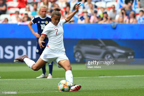 Nikita Parris of England scores her team's first goal during the 2019 FIFA Women's World Cup France group D match between England and Scotland at...