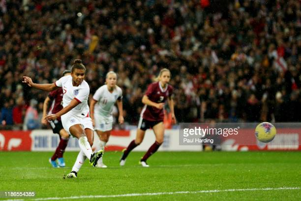 Nikita Parris of England takes a penalty that was saved during the International Friendly between England Women and Germany Women at Wembley Stadium...
