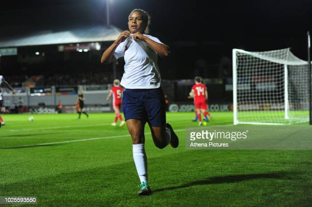 Nikita Parris of England Women celebrates scoring her side's third goal during the FIFA Women's World Cup Qualifier match between Wales and England...