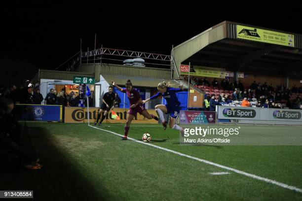 Nikita Parris of Manchester City in action with Magdalena Eriksson of Chelsea during the WSL match between Chelsea Ladies and Manchester City Ladies...