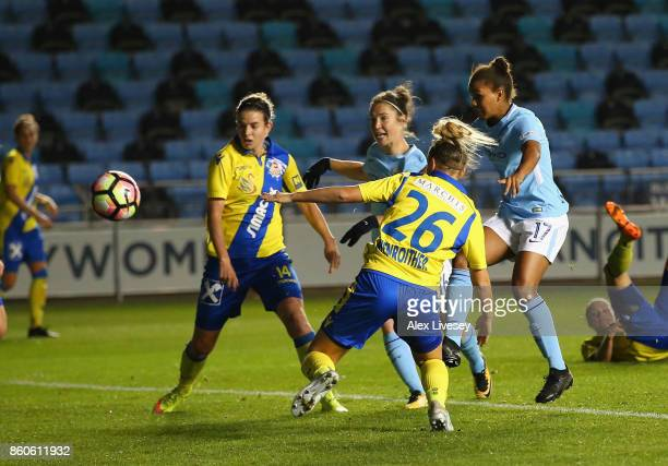 Nikita Parris of Manchester City scores the opening goal during the UEFA Women's Champions League match between Manchester City Ladies and St Polten...