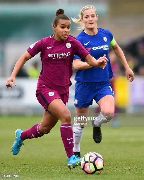 Nikita Parris of Manchester City WFC makes a break during Continental Tyres Cup semifinals match between Chelsea Ladies against Manchester City Women...