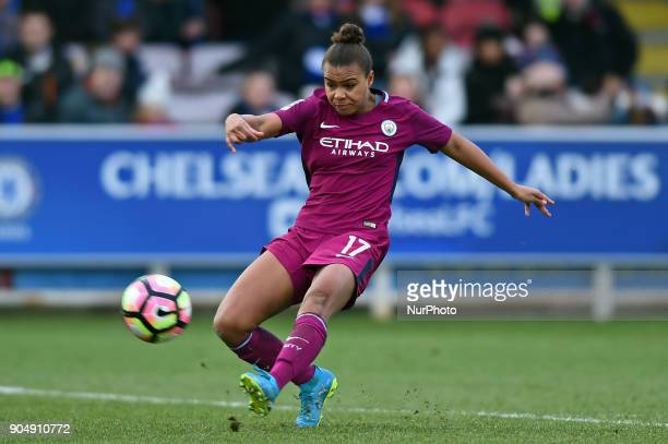 Nikita Parris of Manchester City WFC shoots at goal during Continental Tyres Cup semifinals match between Chelsea Ladies against Manchester City...