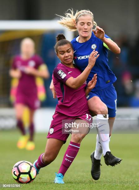 Nikita Parris of Manchester City WFC under pressure during the Continental Tyres Cup semifinals match between Chelsea Ladies against Manchester City...