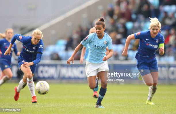 Nikita Parris of Manchester City Women beats Magdalena Eriksson of Chelsea Women during the FA WSL match between Manchester City Women and Chelsea...