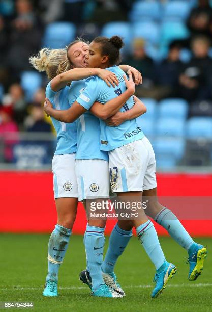 Nikita Parris of Manchester City Women celebrates her goal during the FA WSL Continental Tyres Cup between Manchester City Women and Birmingham City...