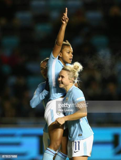 Nikita Parris of Manchester City Women celebrates with Izzy Christiansen after scoring their second goal during the UEFA Women's Champions League...