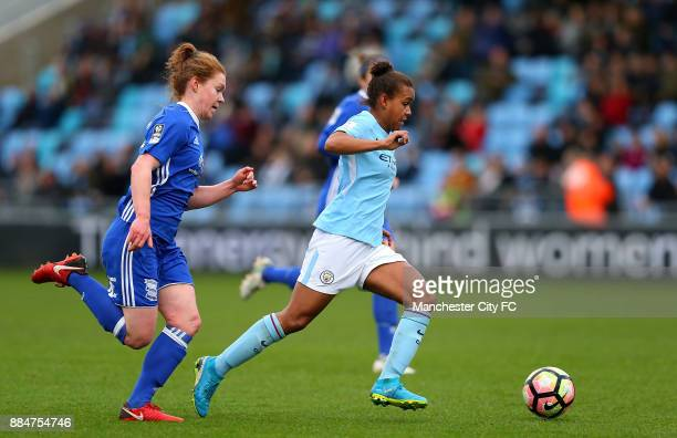 Nikita Parris of Manchester City Women holds off Aoife Mannion of Birmingham City Ladies for the opening goal during the FA WSL Continental Tyres Cup...