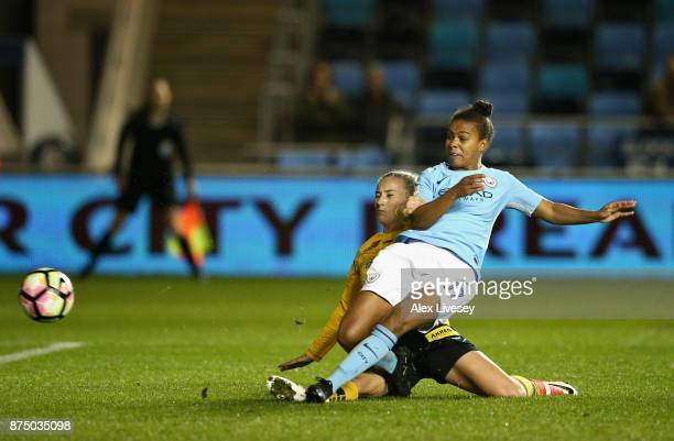 Nikita Parris of Manchester City Women scores their second goal during the UEFA Women's Champions League match between Manchester City Women and LSK...