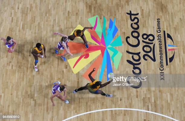 Nikita Payne of Barbados catches a pass against Scotland during Netball on day eight of the Gold Coast 2018 Commonwealth Games at Gold Coast...