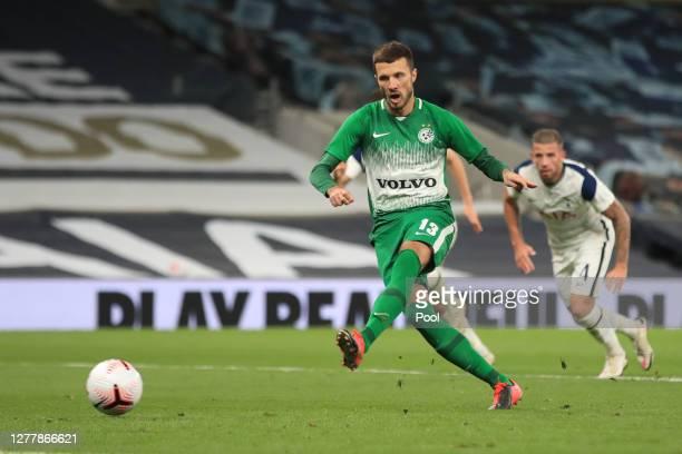 Nikita Rukavytsya of Maccabi Haifa scores his team's second goal past Joe Hart of Tottenham Hotspur from the penalty spot during the UEFA Europa...