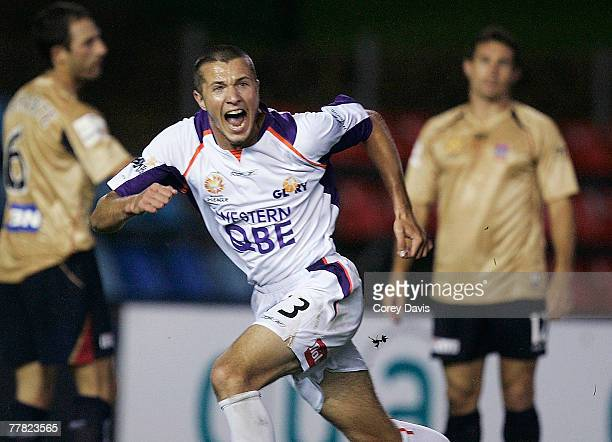 Nikita Rukavytsya of the Glory celebrates scoring during the round 12 A-league match between the Newcastle Jets and the Perth Glory at...