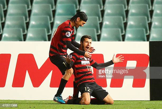 Nikita Rukavytsya of the Wanderers celebrates a goal during the Asian Champions League match between the Western Sydney Wanderers and Kashima Antlers...
