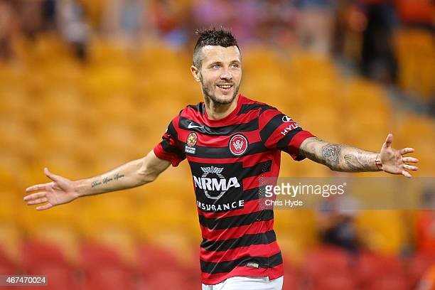 Nikita Rukavytsya of the Wanderers celebrates a goal during the round 21 A-League match between Brisbane Roar and the Western Sydney Wanderers at...