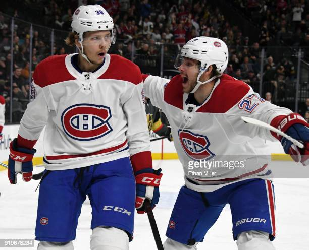 Nikita Scherbak and Alex Galchenyuk of the Montreal Canadiens celebrate after Scherbak scored a firstperiod goal against the Vegas Golden Knights...