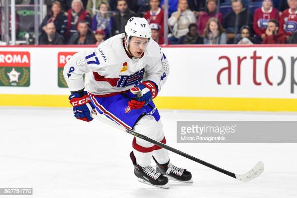 Nikita Scherbak of the Laval Rocket skates against the Binghamton Devils during the AHL game at Place Bell on October 13 2017 in Laval Quebec Canada...