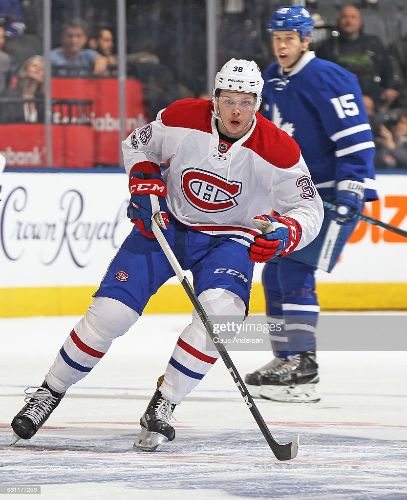 Nikita Scherbak #38 of the Montreal Canadiens skates in his 1st NHL game against the Toronto Maple Leafs at the Air Canada Centre on January 7, 2017 in Toronto,Ontario, Canada. The Canadiens defeated the Maple Leafs 5-3.
