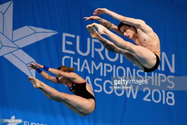 Nikita Shleikher and Iuliia Timoshinina of Russia compete in the Mixed Synchronised 10m Platform Final during the diving on Day Ten of the European...