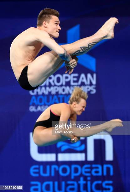 Nikita Shleikher and Nadezhda Bazhina of Russia compete in the Mixed Synchronised 3m Springboard final during the diving on Day seven of the European...