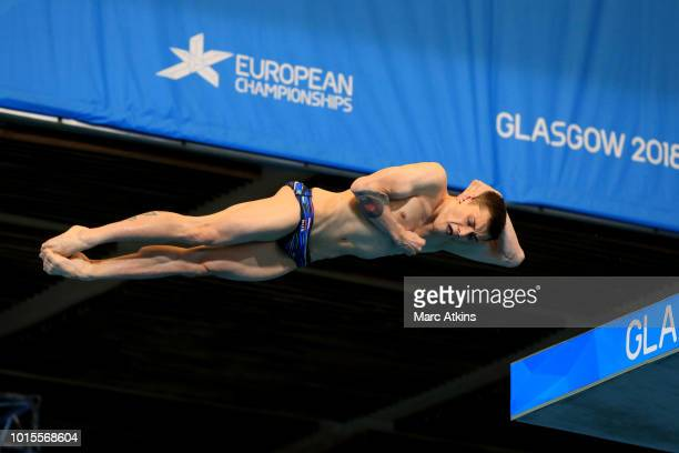 Nikita Shleikher of Russia competes in the Men's 10m Platform Final during the diving on Day eleven of the European Championships Glasgow 2018 at...